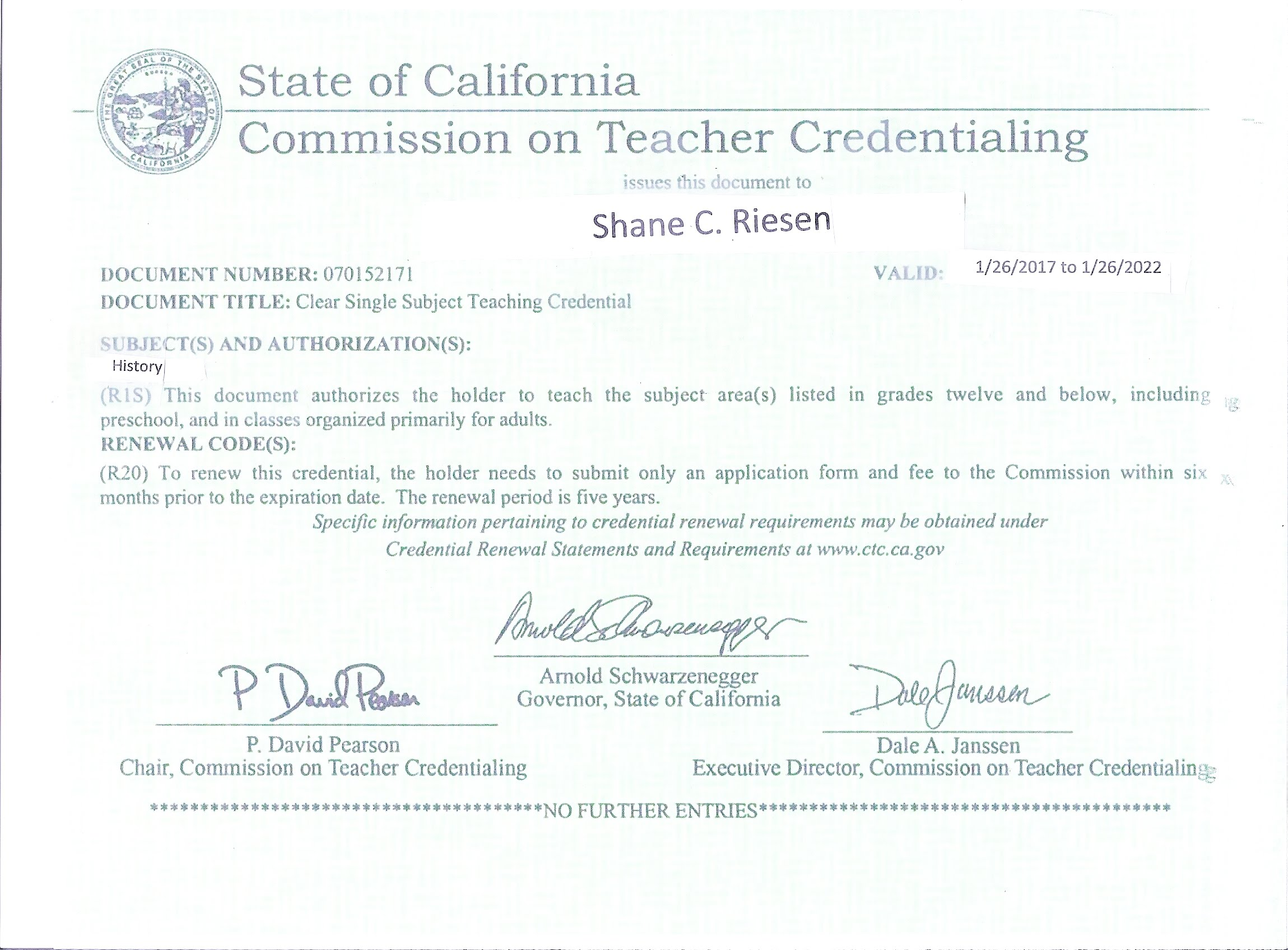 Certification Here Is My Certification For Review Below Are My