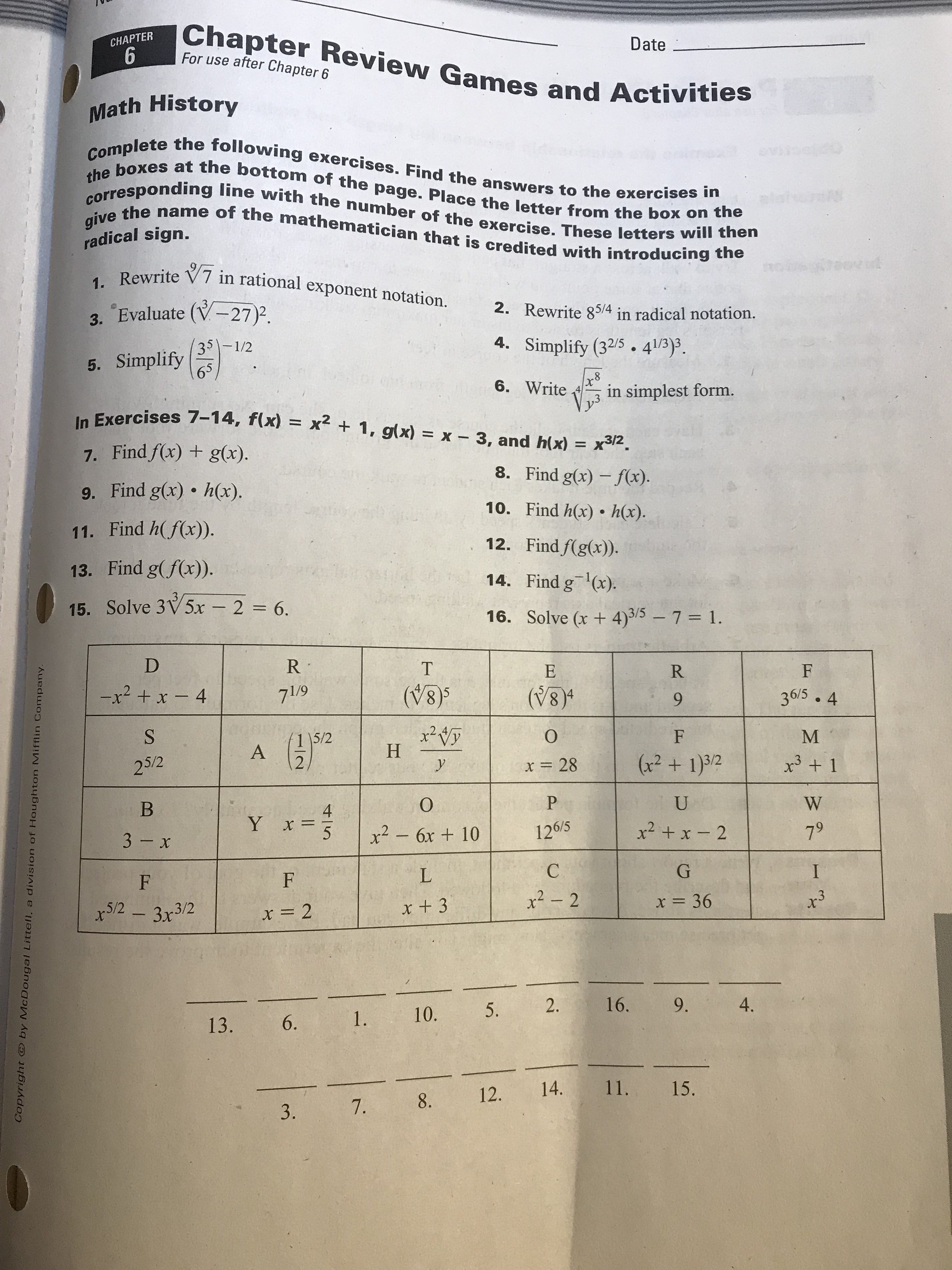 28 Worksheet 74 Inverse Functions