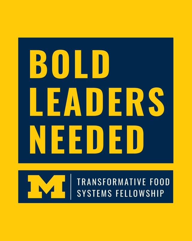 BOLD LEADERS NEEDED. Michigan Transformative Food Systems Fellowship logo.