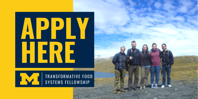 Click to Apply here, students and professors on top of a mountain with a lake behind them, Transformative Food Systems Fellowship logo.