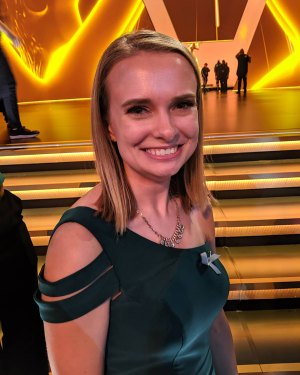 Kate Hauersperger in front of the Emmy stage