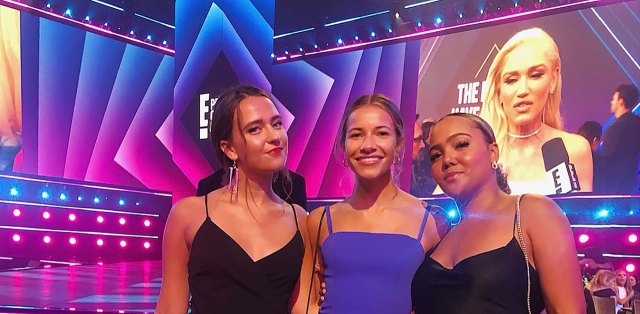 Three women pose at the E! People's Choice Awards