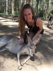 Petting a kangaroo!