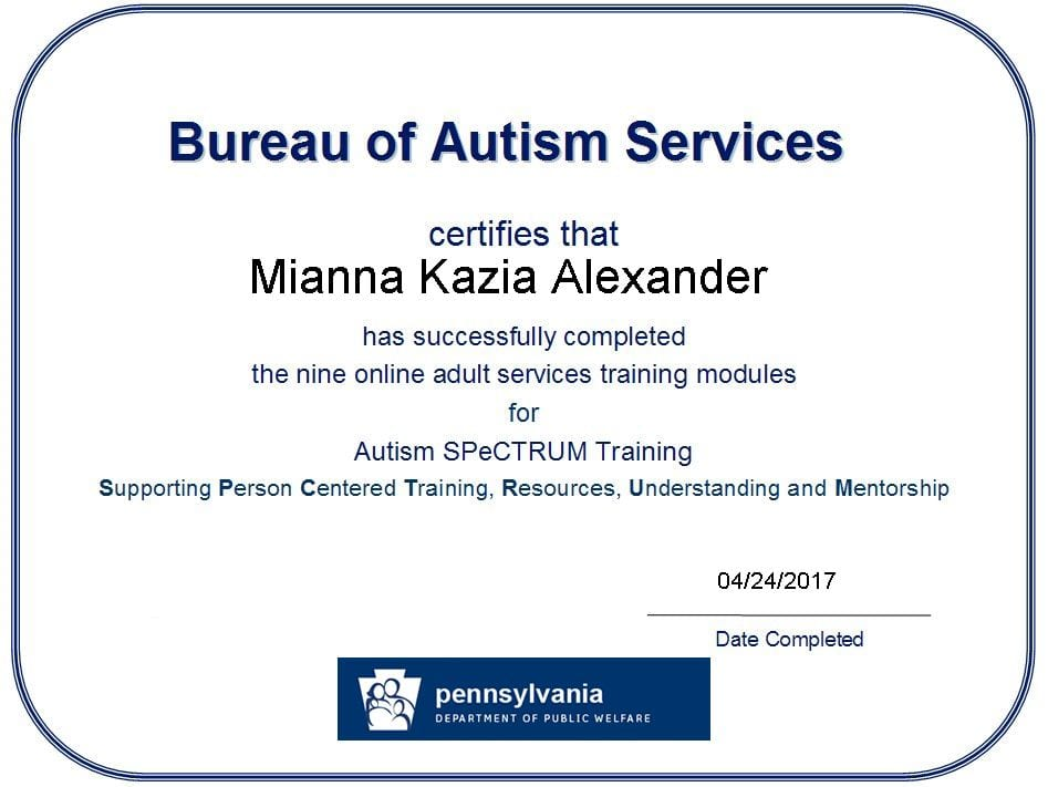 Training And Certificates Mianna Alexander S Eportfolio