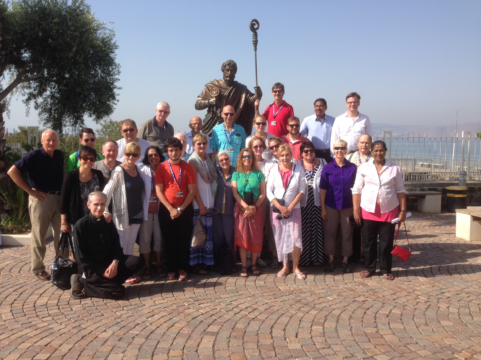 2016 Holy Land Pilgrims at the Statue of St. Peter at Capernaum, Galilee