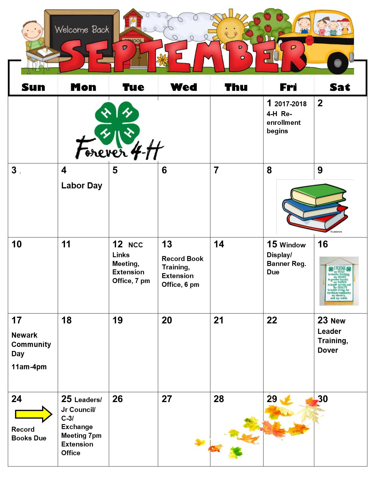 Calendar Dates September Through November
