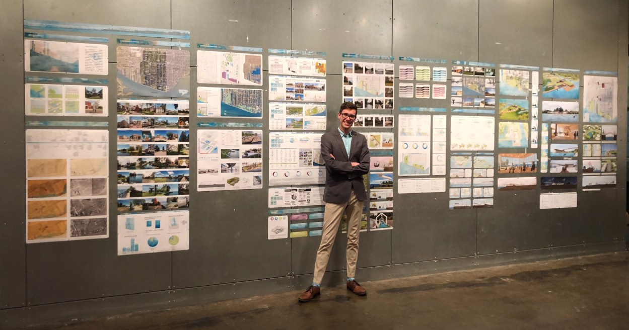 Matthew Northcott shows off his project designs.