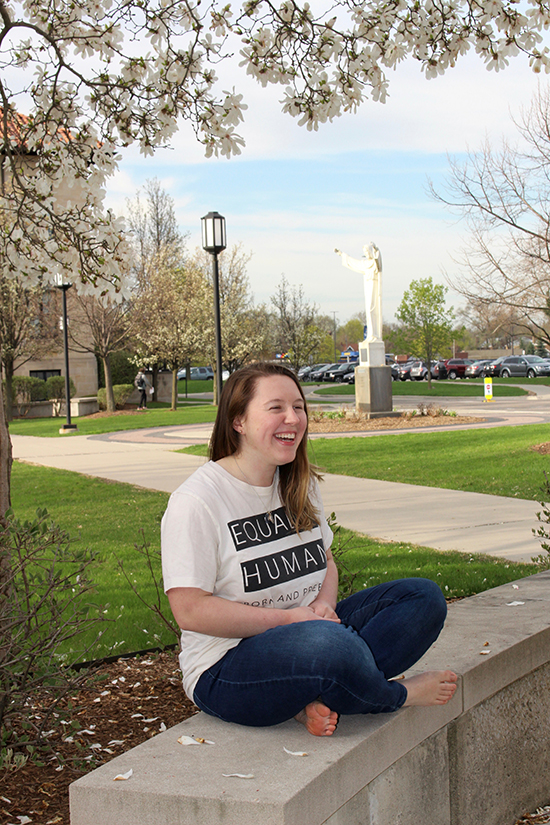 Mary Margaret Payne laughs on campus.