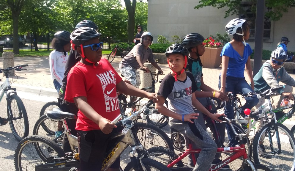 Two students from Mary McLeod Bethune Middle School ready to ride!