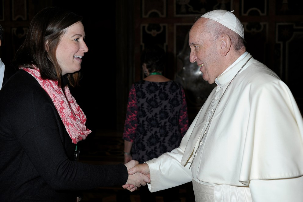 Erin McDonald with Pope Francis. Photo by Servizio Fotografico Vaticano Copyright © · All Rights Reserved