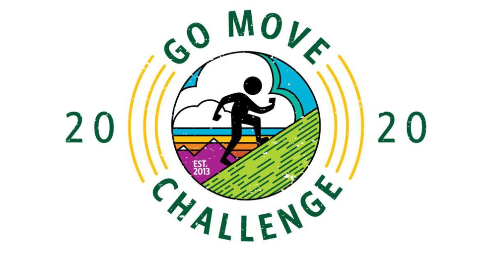 Go Move Challenge 2020 Logo featuring a stick figure walking up a slanted grade.