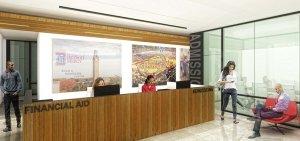 Artist rendering for campus rennovation - admissions desk