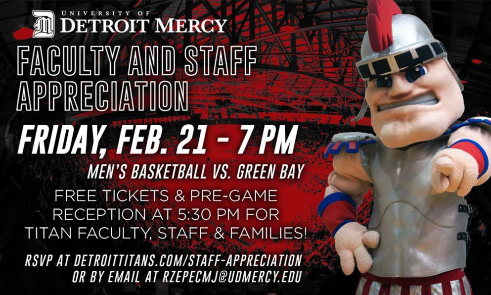 Faculty and Staff appreciation night promo poster with Tommy Titan