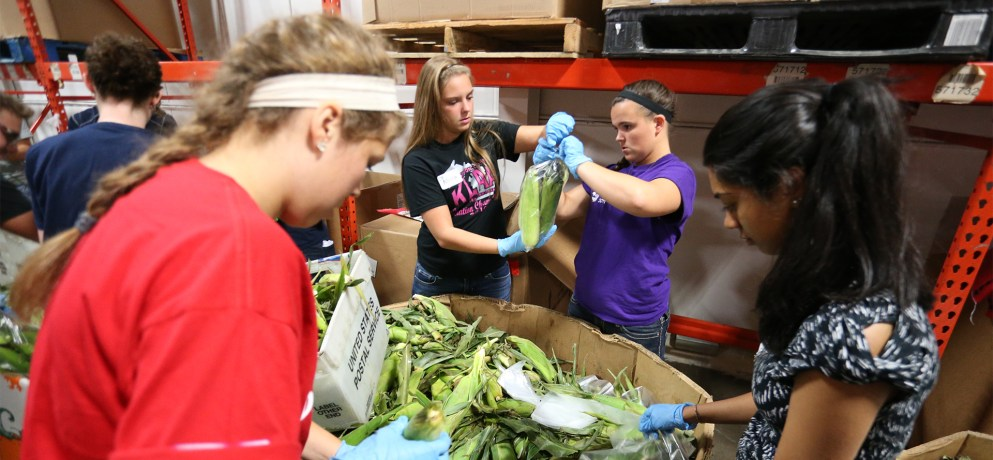 University of Detroit Mercy participate in a food pantry as service learning.