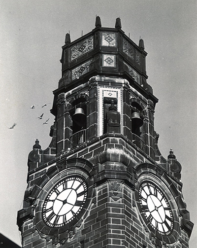 Vintage photo of the Detroit Mercy Clocktower