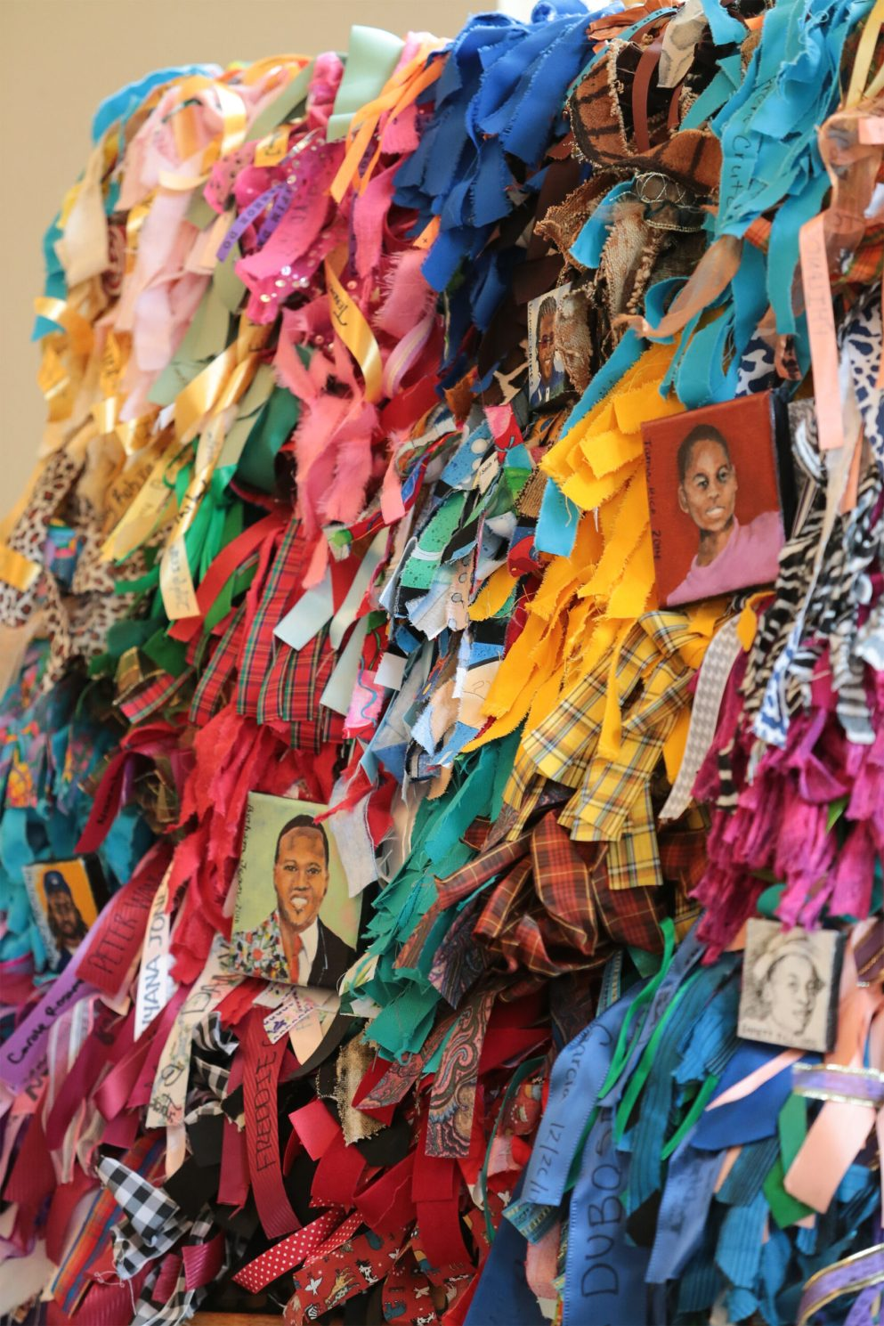Ribbons tied on a Healing Wall