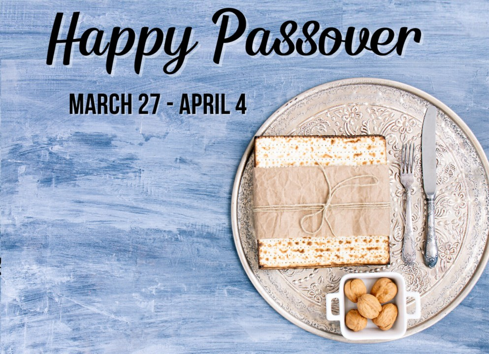 Happy Passover graphic of matzah and walnuts.