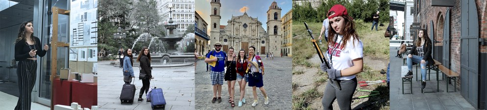 From left to right: Taylor Kile, pictured giving an architecture presentation, walking near a fountain in New York during a conference, standing with friends in front of a church in Cuba during a study abroad experience, holding a pair of lawn tools while volunteering in the surrounding community during PTV, and sitting on a table in New York during a trip for a conference.