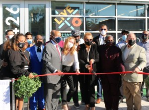 President Antoine M. Garibaldi and many dignitaries help unveil the Live6 Alliance's work Friday, Oct. 1, 2021 from the Live6 headquarters, a half-mile East of the University of Detroit Mercy