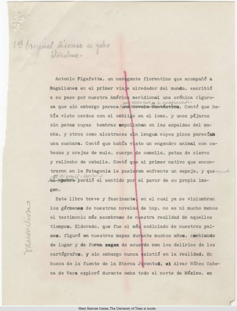 Gabriel García Márquez's text of Nobel Prize in Literature speech (1982).
