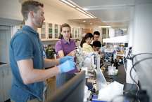 9.13.2019--Students work in the lab of Patricia Weisensee, Assistant Professor of Mechanical Engineering ?Materials Science, in Jubel Hall.