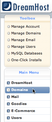 "DreamHost navigation menu with ""Domains"" selected"