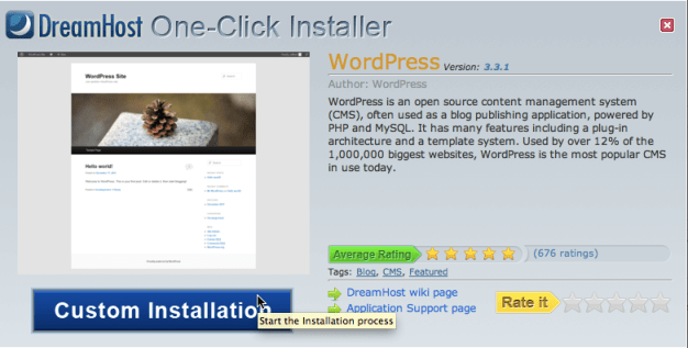 DreamHost One-Click Install: WordPress Custom Installation