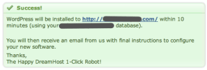 "DreamHost One-Click Install ""Success"" message"