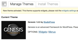 WordPress New Theme Activated: Genesis