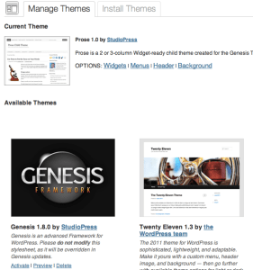 WordPress Manage Themes screen