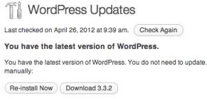WordPress Updates showing version 3.3.2 installed