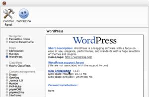 Fantastico new WordPress installation