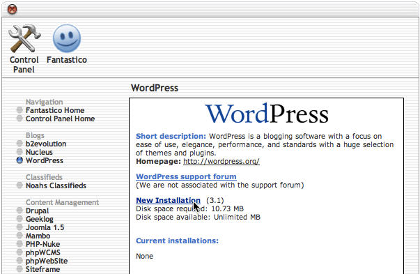 Fantastico new WordPress installation