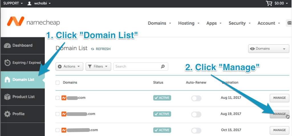 Namecheap domain list