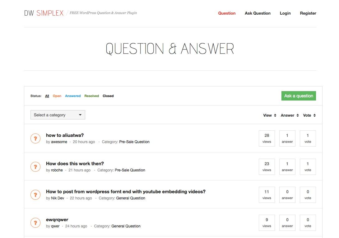 Plugin Perguntas & Respostas WordPress