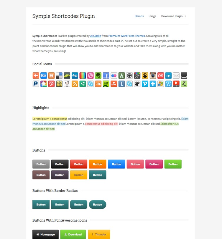 Symple Shortcodes, plugin gratuito WordPress