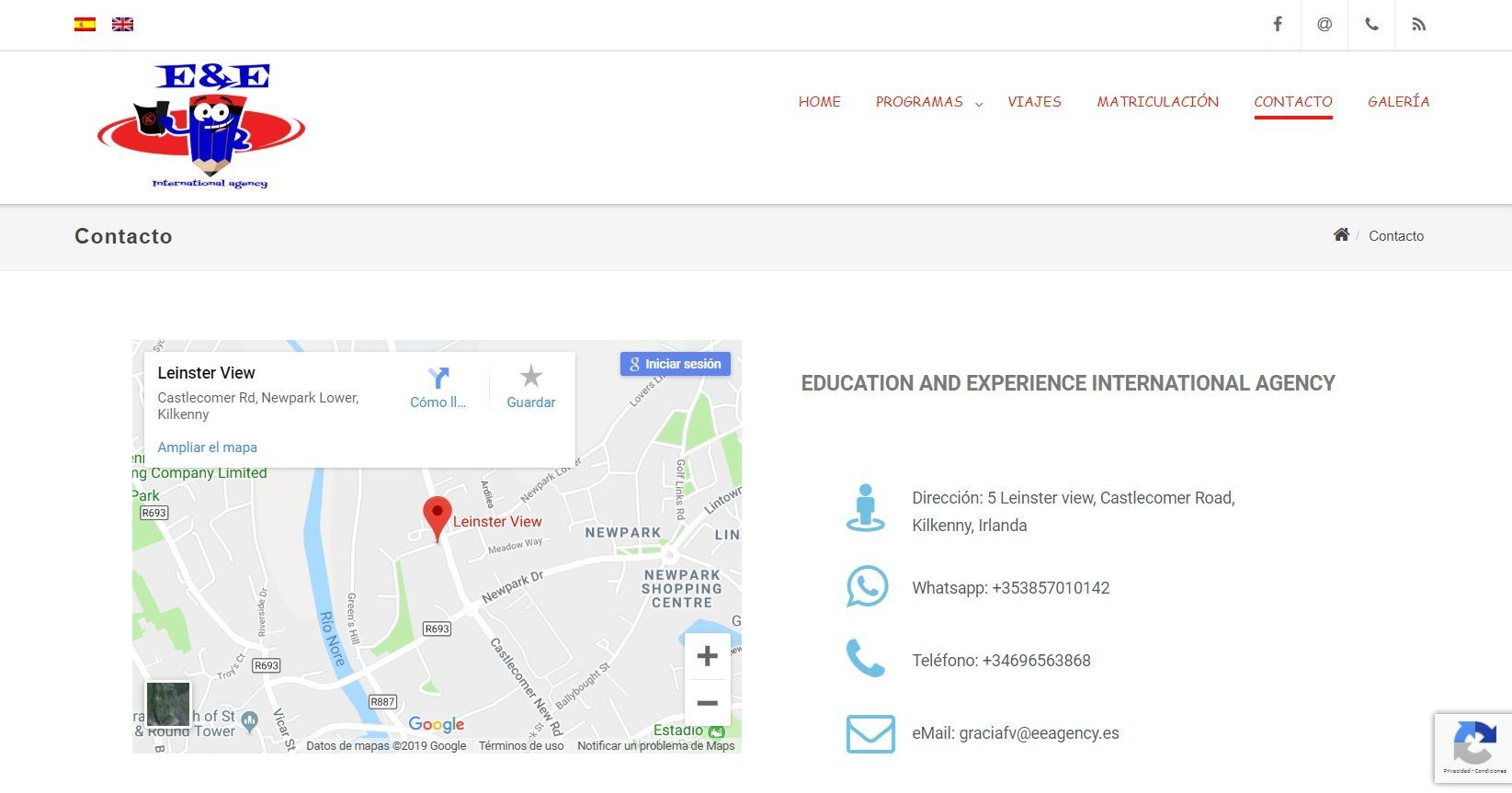 Website contact in spanish for languages agency