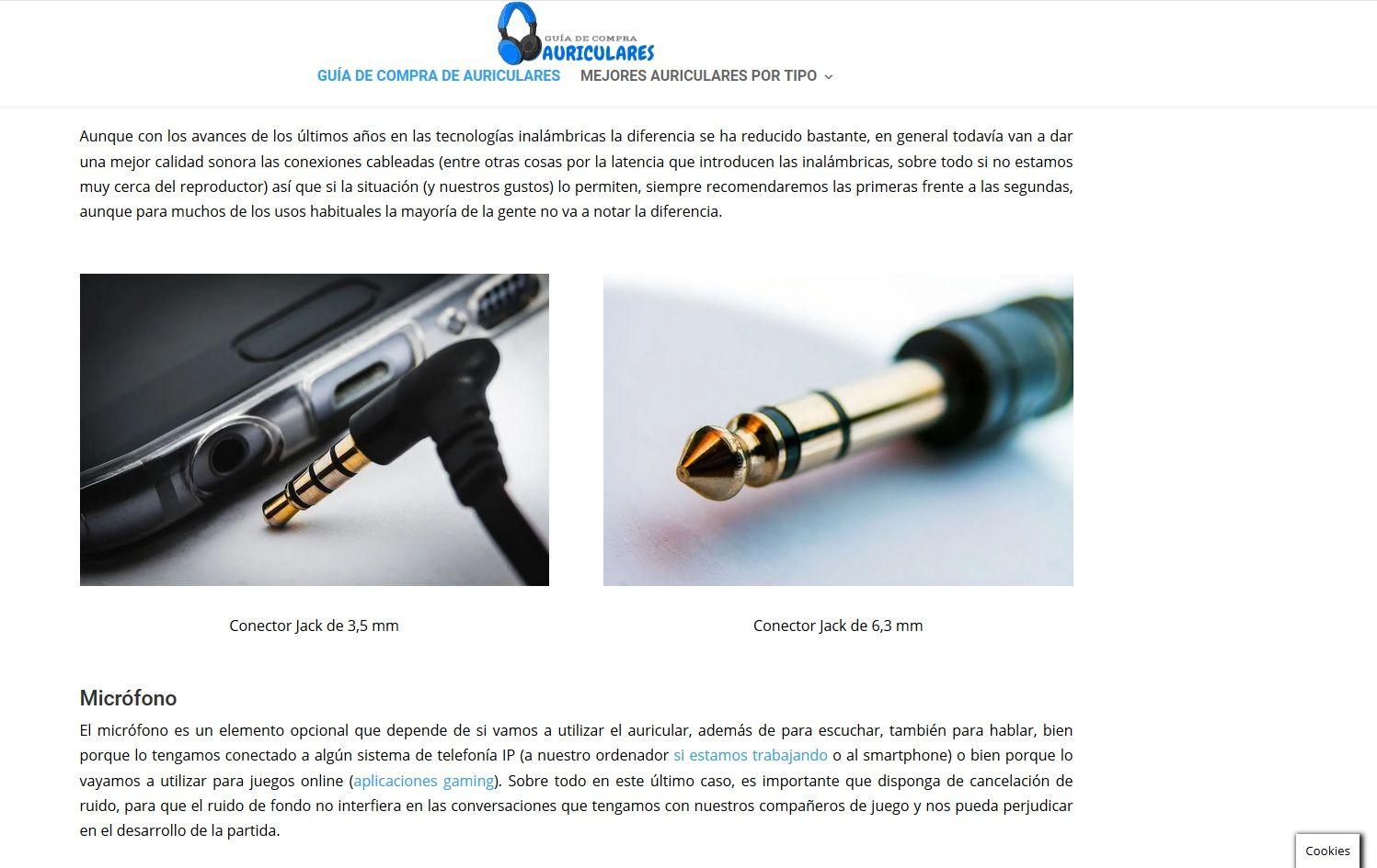 Desarrollo wordpress Guia Auriculares