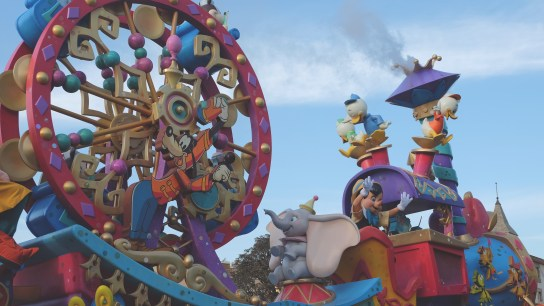 Pinocchio, Dumbo, and Huey Dewey Louie in tow