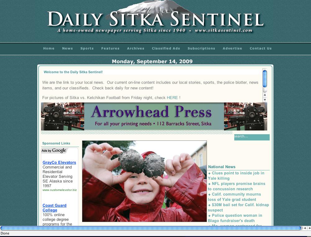 Daily Sitka Sentinel screenshot of Baranof Elementary School student picking potatoes