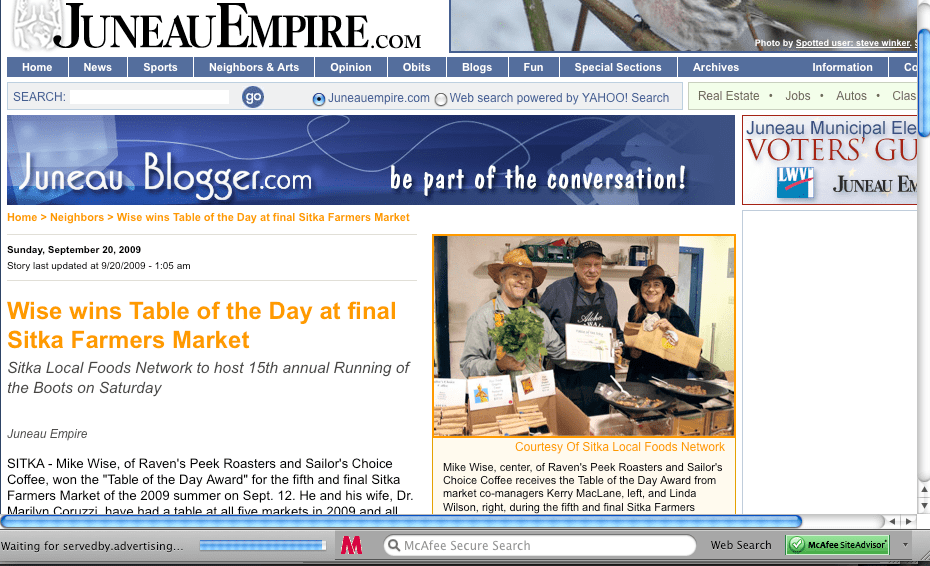 Juneau Empire screenshot of Mike Wise winning the final Table of the Day Award for the 2009 season of Sitka Farmers Markets.
