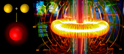 The concept of nuclear fusion merged with a photograph of the nuclear fusion energy display at Weiss Energy Hall, Houston Museum of Natural Science, Houston, TX on the right (Credits: Katherine Fellows)