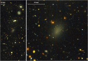 Astronomers used the Gemini Telescope to photograph Dragonfly 44, an ultra diffuse galaxy comprised of almost entirely dark matter.