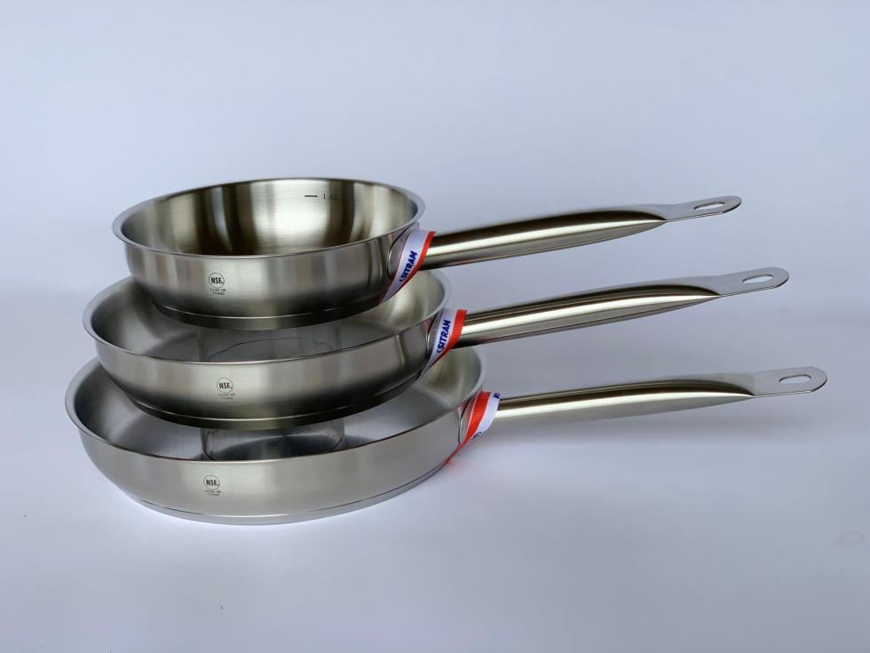 Stainless Steel 3 piece fry pan set
