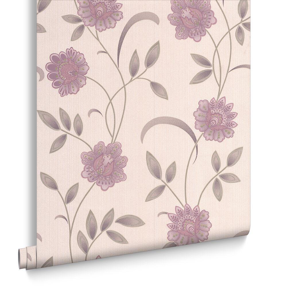 Sadie Lavender and Cream Wallpaper   Graham & Brown