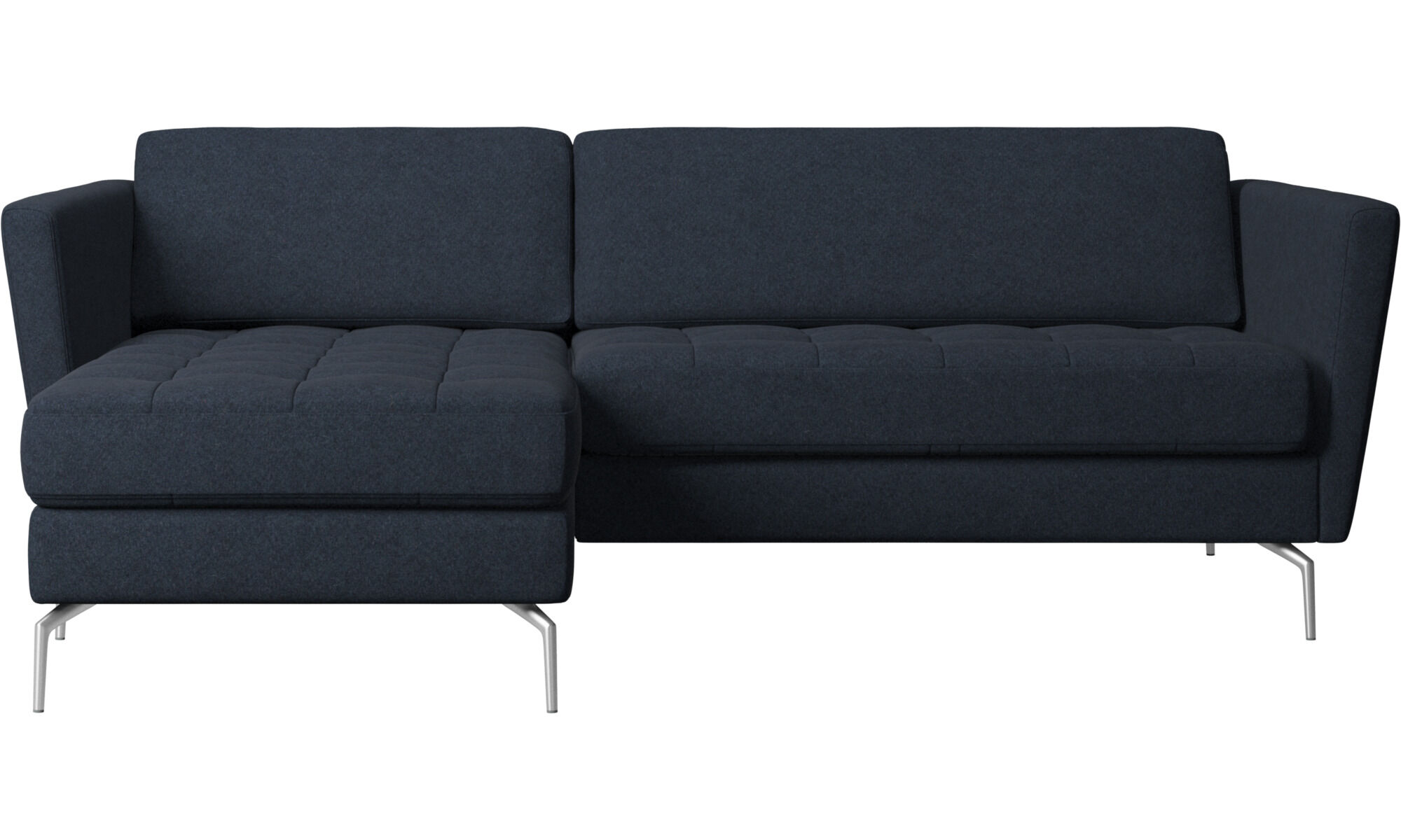 Modern chaise longue sofas   Quality from BoConcept Chaise lounge sofas   Osaka sofa with resting unit  tufted seat   Blue    Fabric