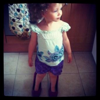 Eliana in mummy's shoes