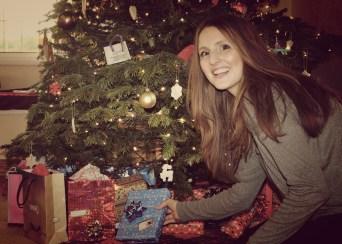 Jenny presents under tree