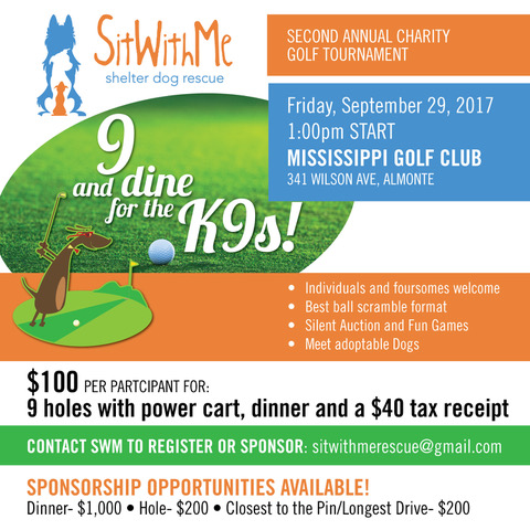 Nine and Dine for the Canines Second Annual Charity Golf Tournament Poster.