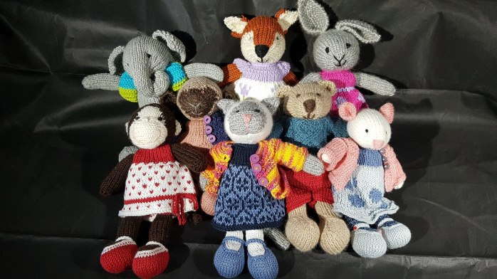 Colourful knit animals
